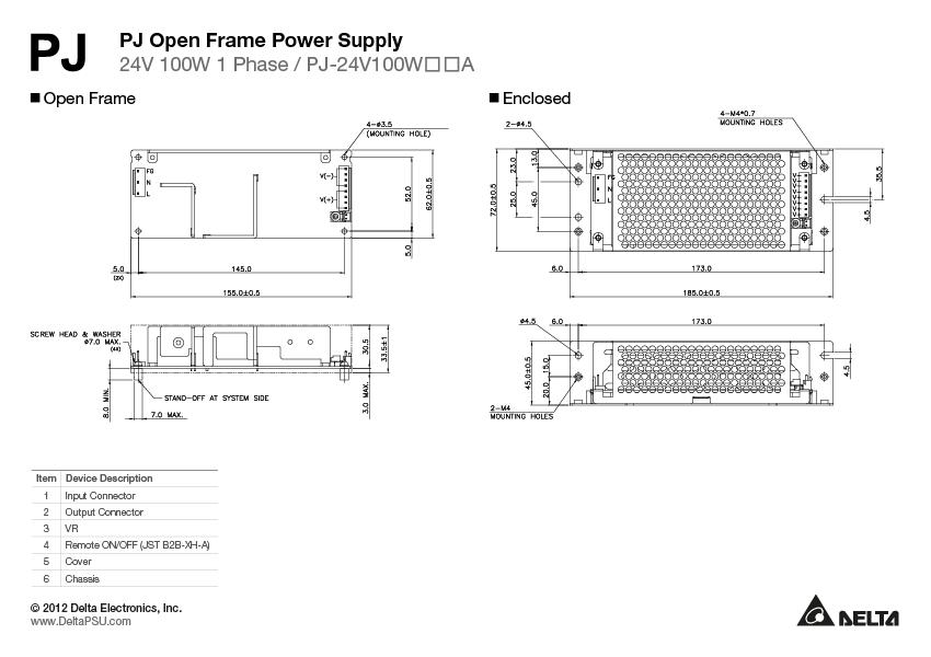 PJ-24V100WBNA Delta Electronics | Power Supplies - External/Internal